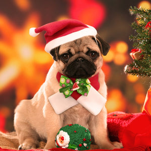 pug swag beautiful Christmas hat with necktie combo
