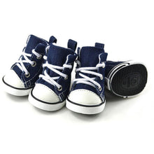 Load image into Gallery viewer, The original Swag sneakers, baseball converse style, denim material, with white plastic. small dog shows in XS, S, M, L, XL