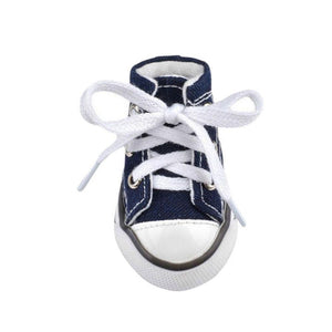 The original Swag sneakers, baseball converse style, denim material, with white plastic. small dog shows in XS, S, M, L, XL