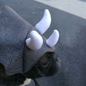 pug swag small dog Funny Triceratops Dinosaur Hat For theme parties or cosplay Material: Leather