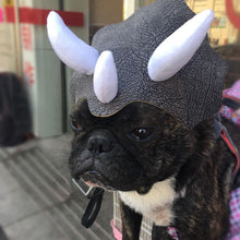 Load image into Gallery viewer, pug swag small dog Funny Triceratops Dinosaur Hat For theme parties or cosplay Material: Leather