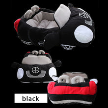 Load image into Gallery viewer, pug swag fast black mercedes sports car snuggle bed, for small dog, red cotton, removeable cover, hand wash only. quality dog bed.