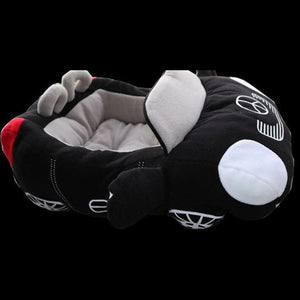 pug swag fast black mercedes sports car snuggle bed, for small dog, red cotton, removeable cover, hand wash only. quality dog bed.