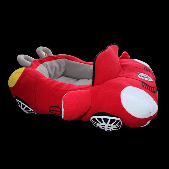 pug swag fast car ferrari snuggle bed, for small dog, red cotton, removeable cover, hand wash only. quality dog bed.