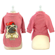Load image into Gallery viewer, pug swag stripey red BOSS sweatshirt with gangster pug with cap and chain cartoon on the back.