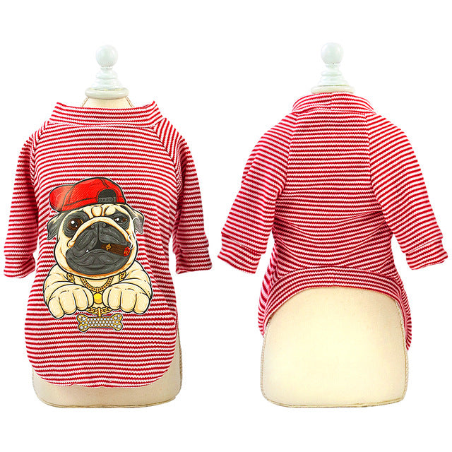 pug swag stripey red BOSS sweatshirt with gangster pug with cap and chain cartoon on the back.