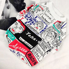 Load image into Gallery viewer, hipster pug swag jumper for small dogs with artwork graffiti red blue and white drawings
