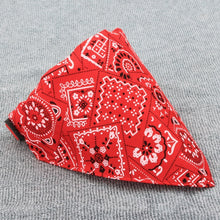 Load image into Gallery viewer, pug swag triangular bandana with hip intricate pattern in black or red.