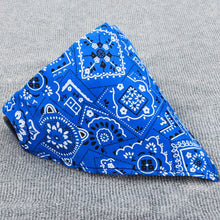 Load image into Gallery viewer, pug swag triangular bandana with hip intricate pattern in blue