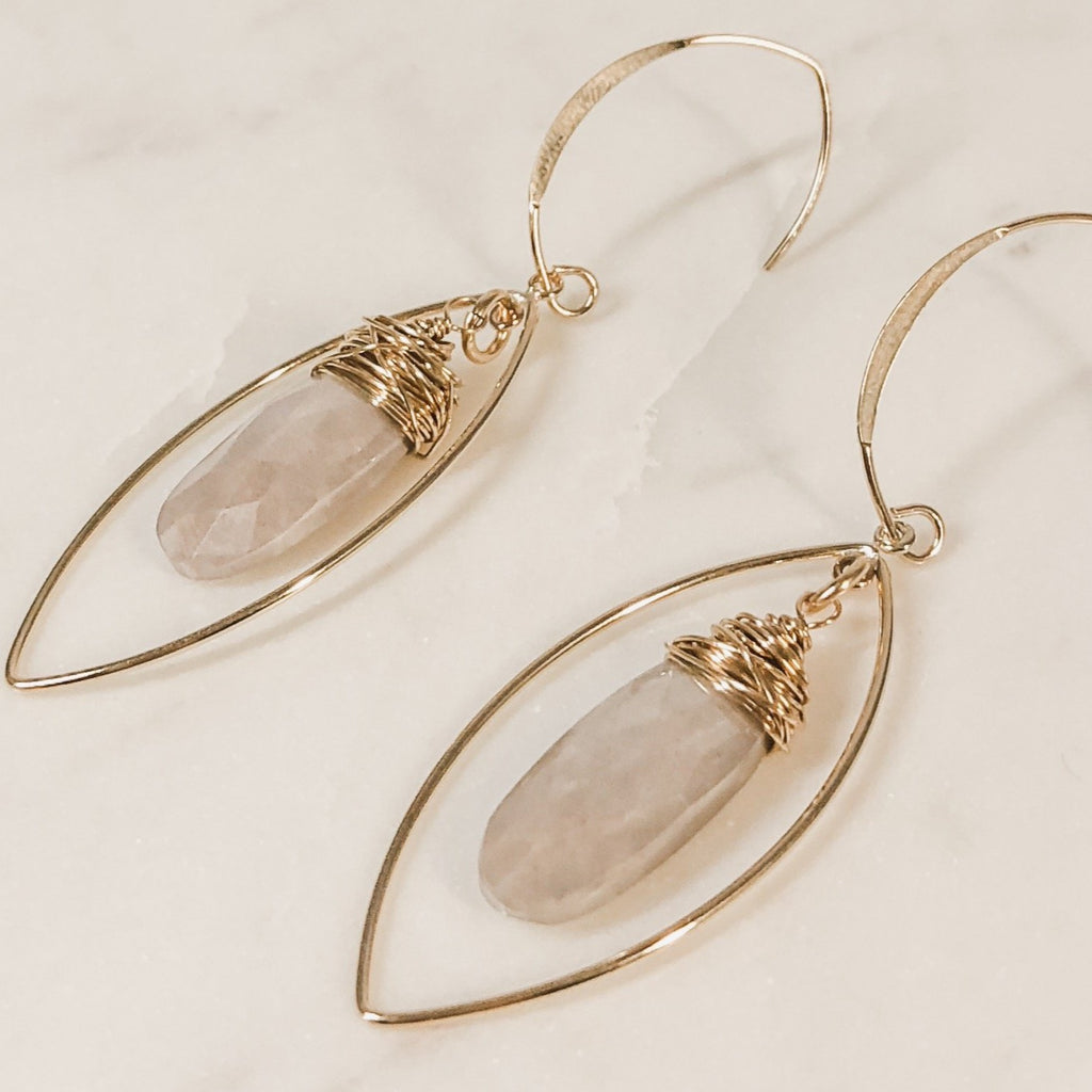 Mystic Moonstone Earrings | 14k Gold Filed Chandelier Earrings