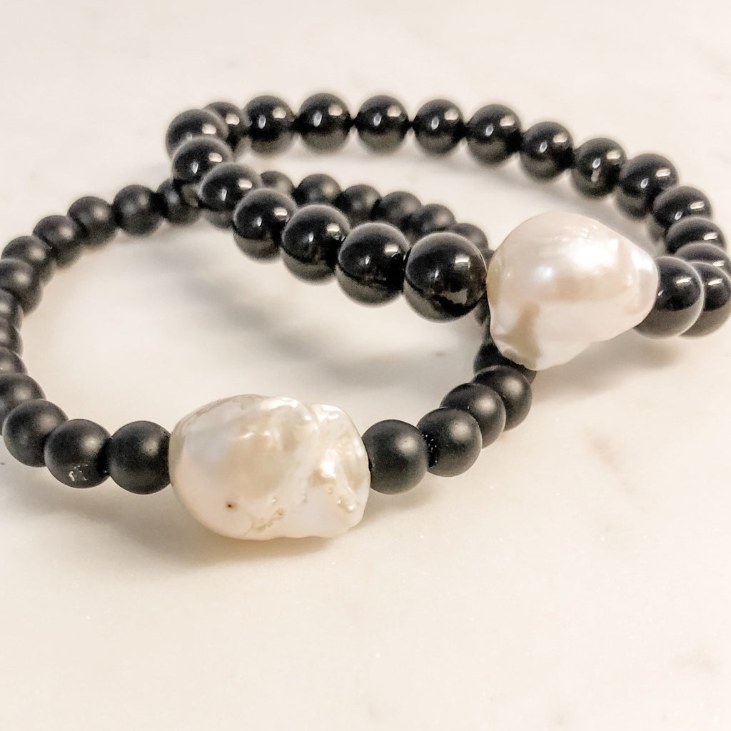 Fresh Water Pearl | Black Onyx Beaded Bracelet