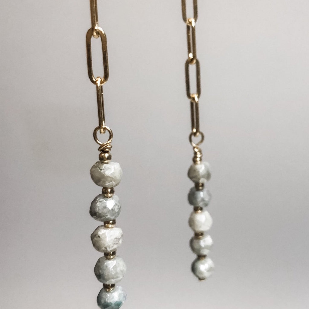 Gray Silverite Drop Earrings | 14k Gold Filled