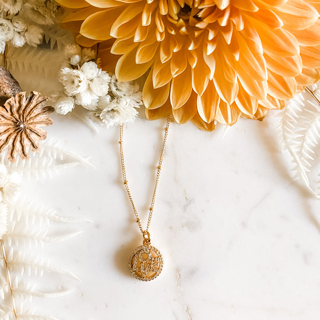 Love Gold Charm Necklace