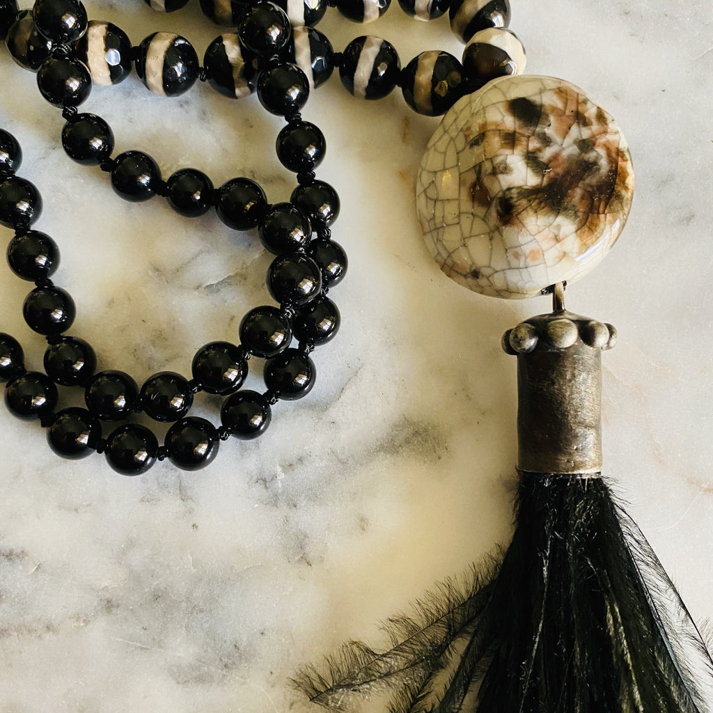 Black Ostrich Feather Necklace|  Hand Knotted Necklace