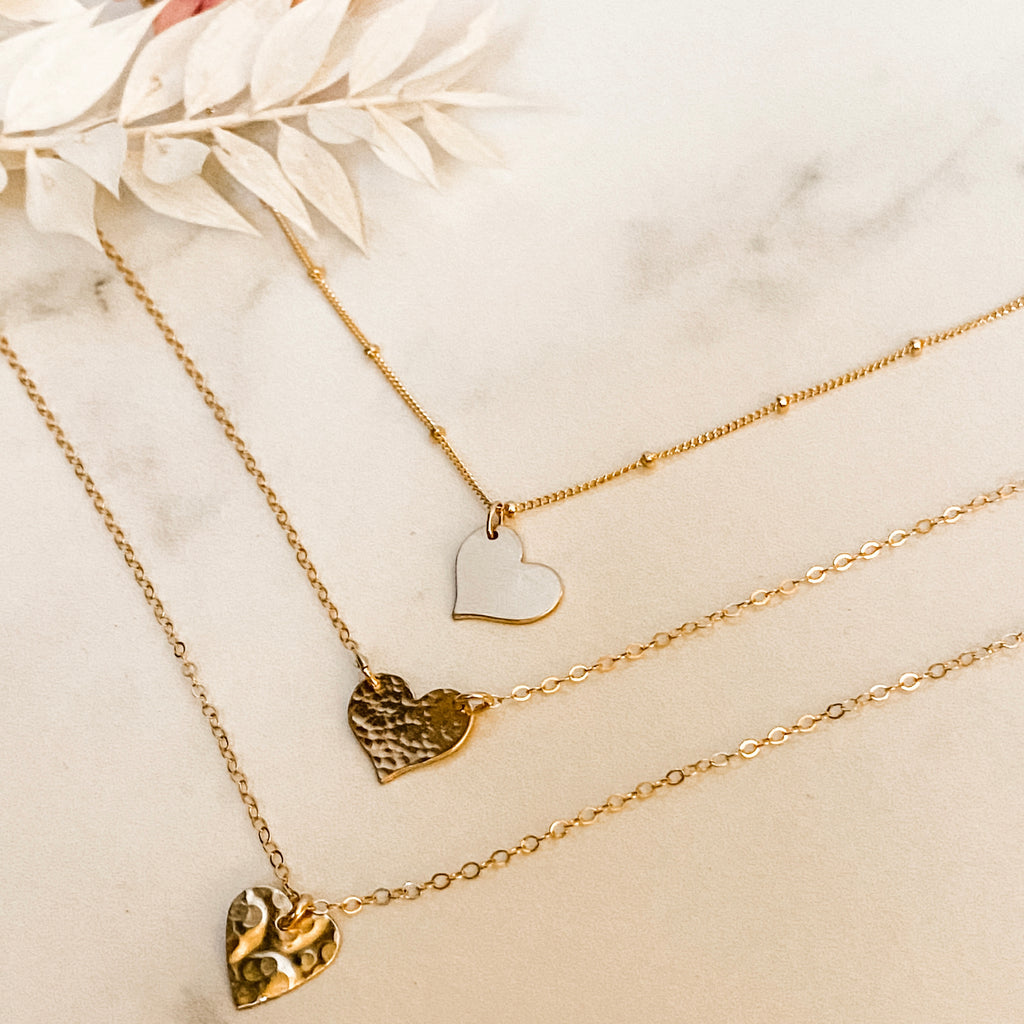 Tiny Hammered Heart Gold Necklace