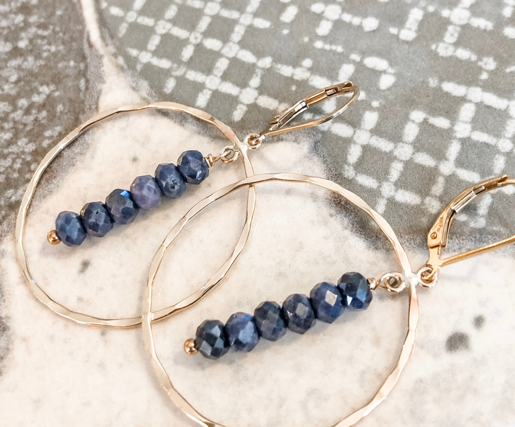 Hoop Sapphire Drop Earrings | 14k Gold Filled