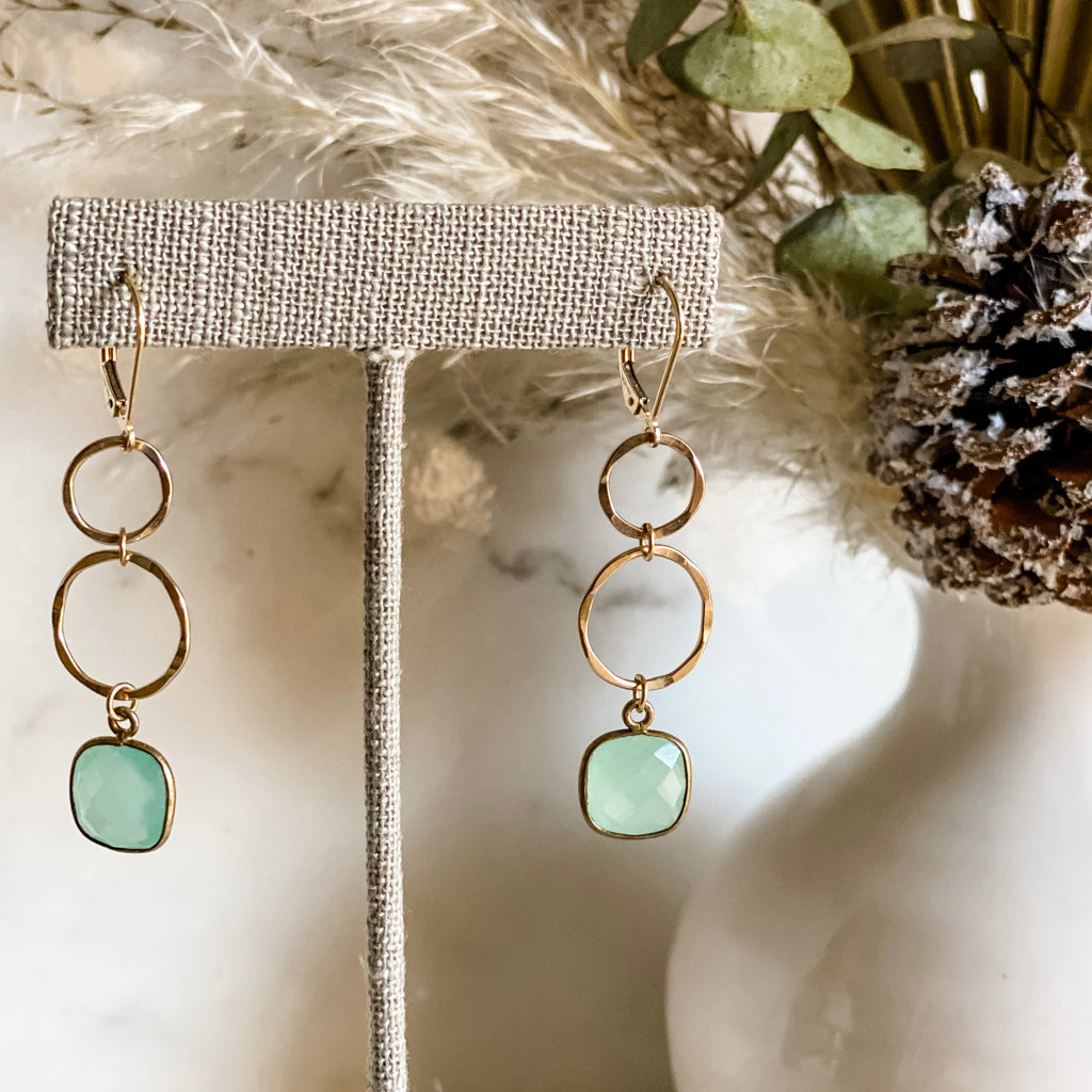 Chalcedony Drop Hoop Earrings   | 14k Gold Filled
