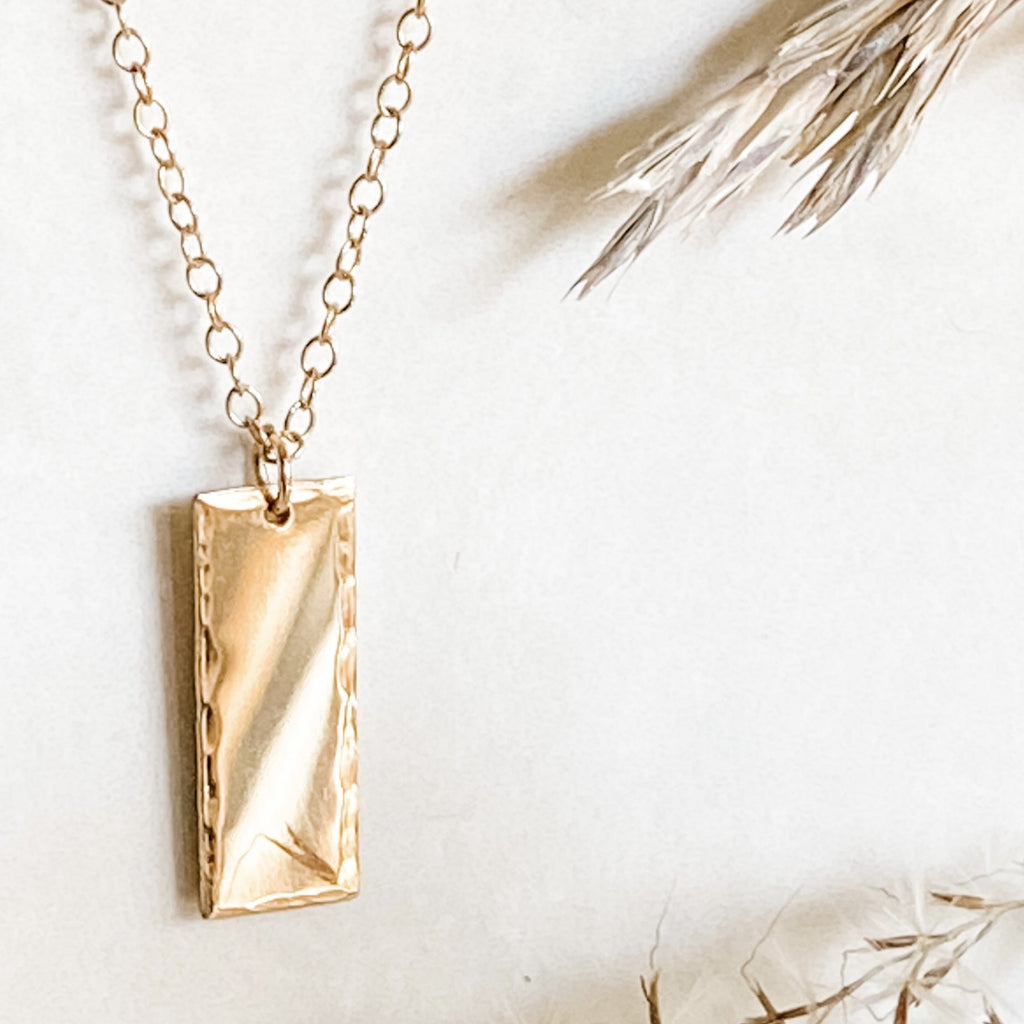 Rectangle Gold Charm Necklace