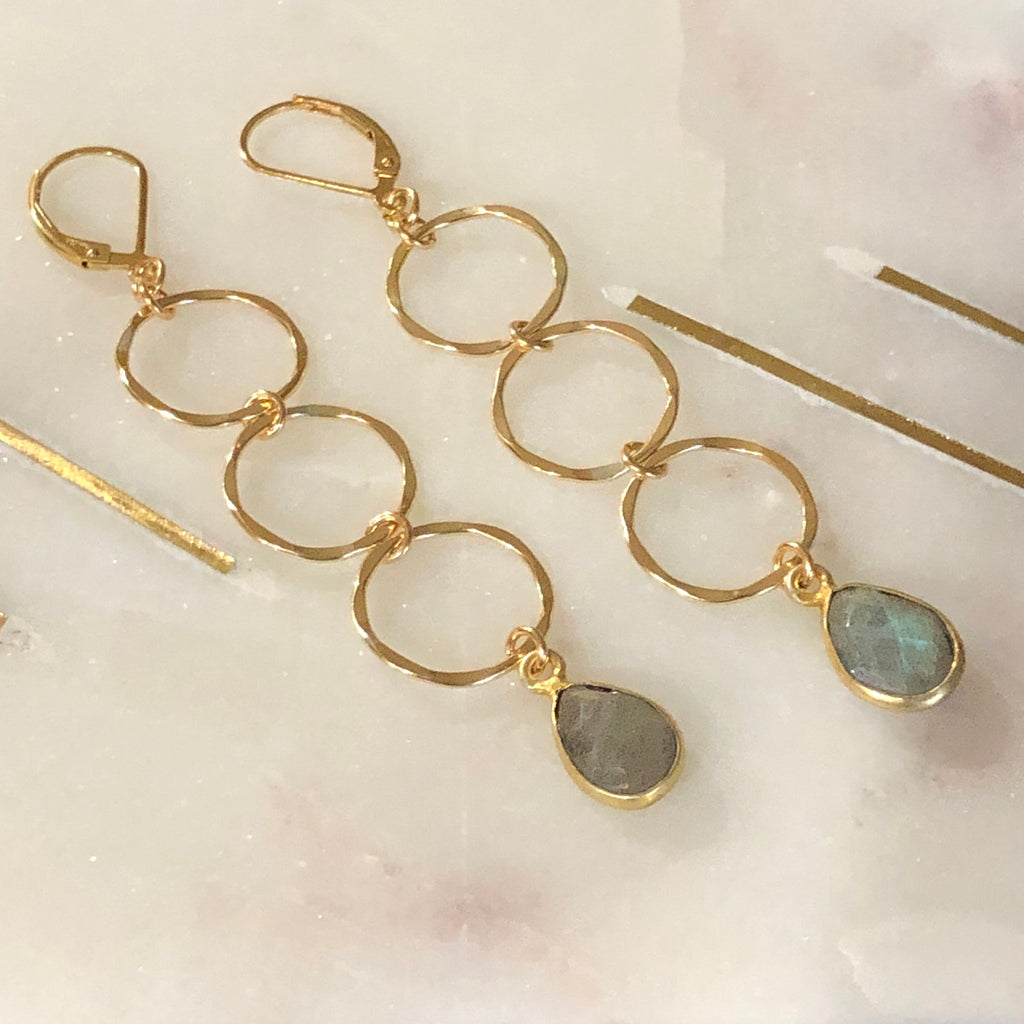 Drop Hoop Earrings with Labradorite  | 14k Gold Filled