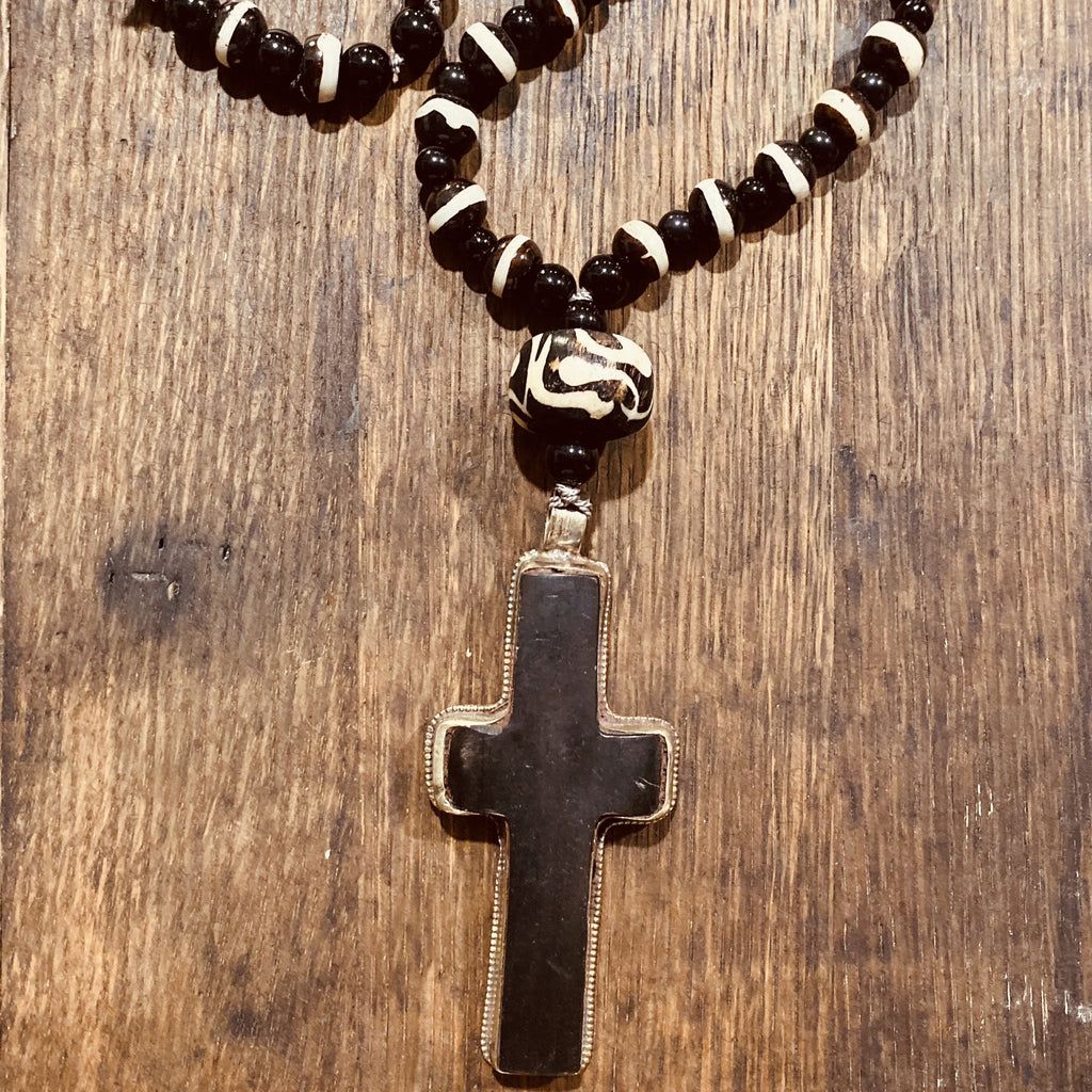 Black Cross | Hand Knotted Necklace | Hand Carved Bone |Tibetan Silver