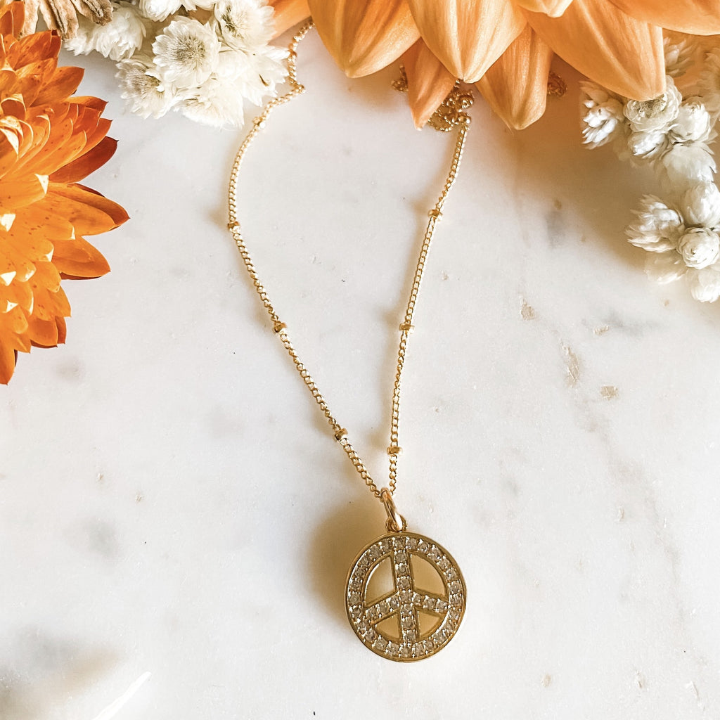 Peace Gold Charm Necklace