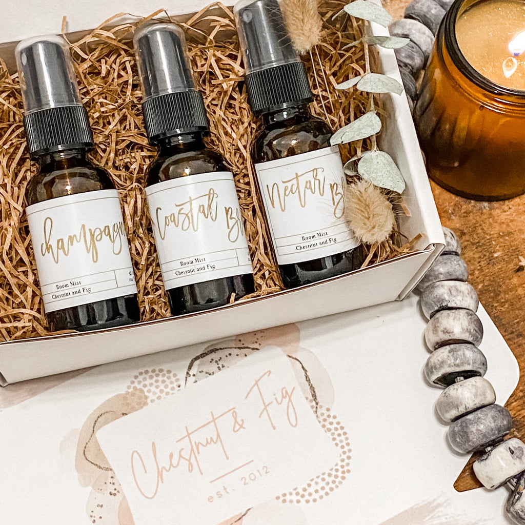 Room Mist Sampler Box. Three 1oz bottles beautifully wrapped and ready to gift to yourself or a friend.