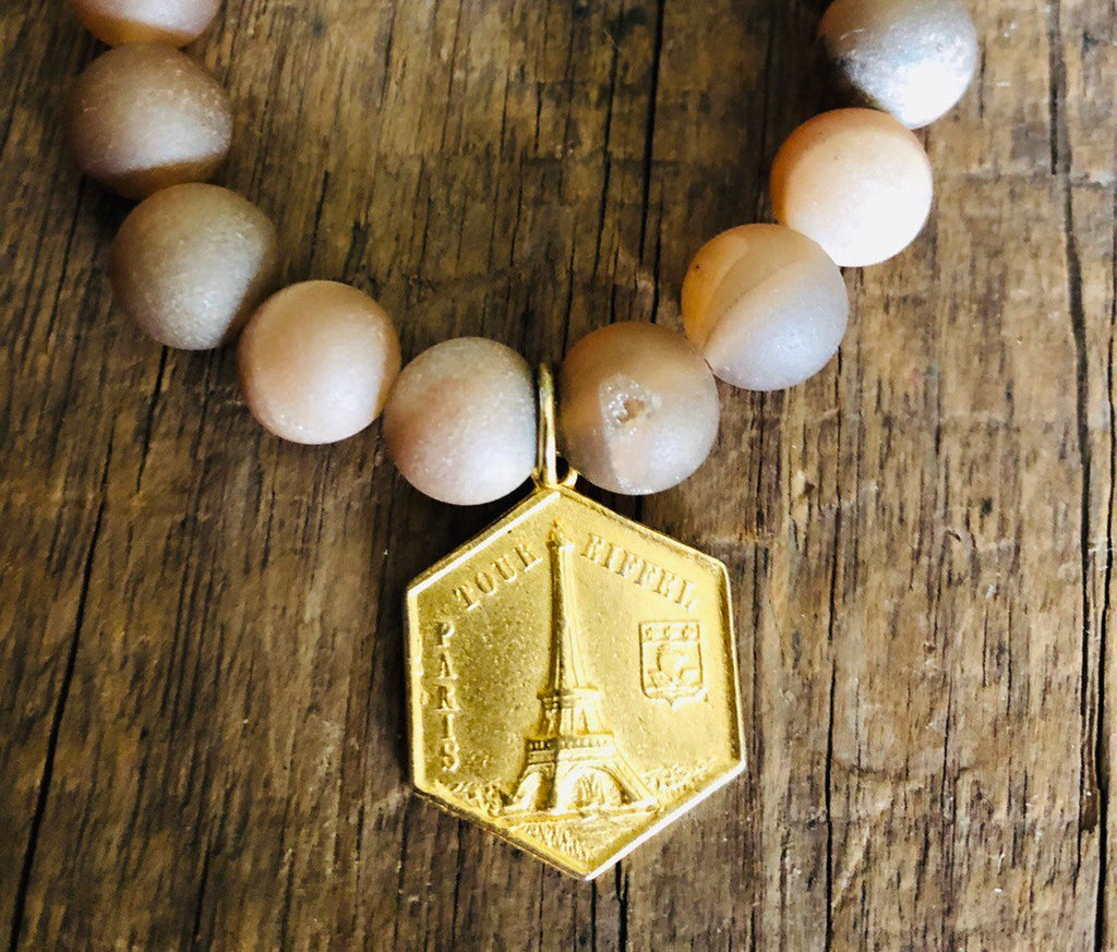 Champagne Druzy Beads | Gold Colored Eiffel Tower Charm
