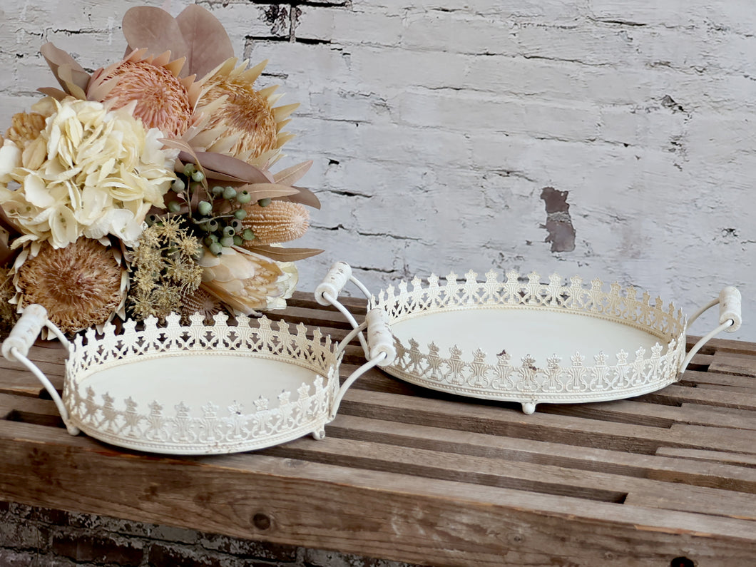 Round pretty detail tray with handles ... 2 sizes