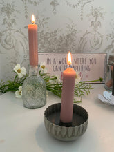 Load image into Gallery viewer, Scallop edge Candle Holder ... vintage grey