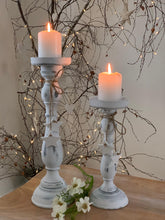 Load image into Gallery viewer, Wooden shabby white star candlestick .... Small 27cm