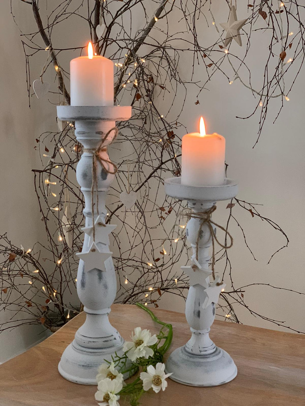 Wooden shabby white star candlestick .... Small 27cm