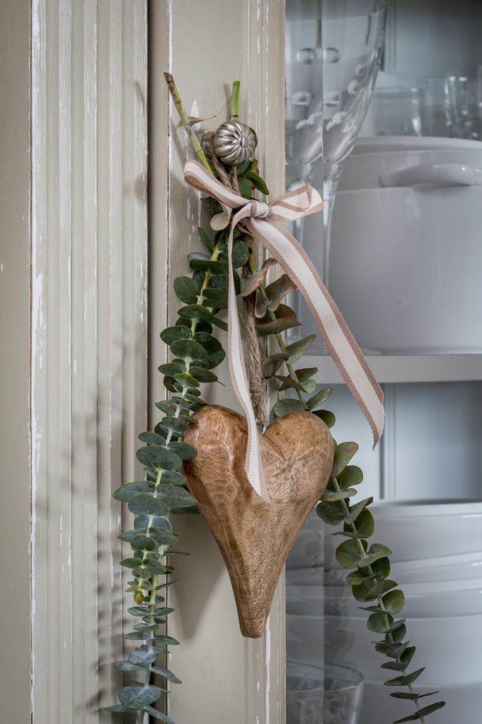 Rustic natural wood chunky hanging heart