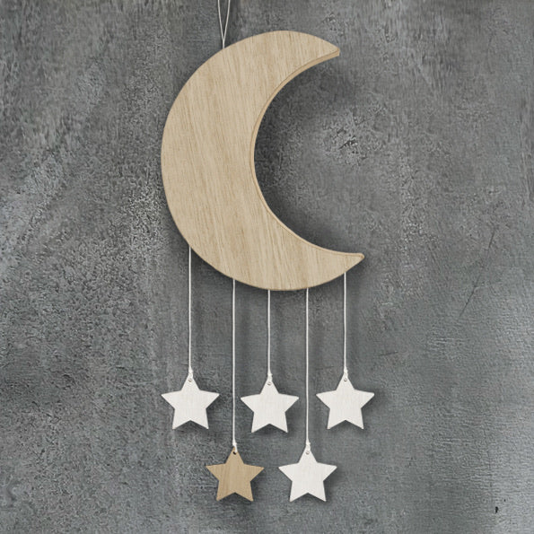 Wooden moon with stars hanger