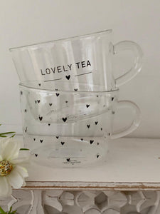Glass Lovely Tea Tumbler Mugs ... set of 2