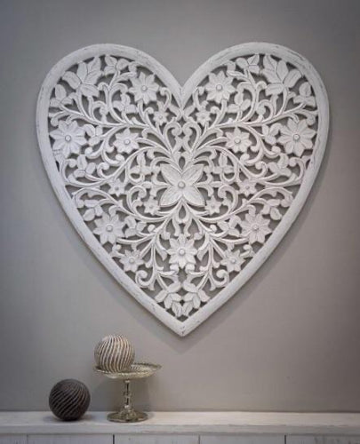 Carved Heart Panel, White ... XLarge