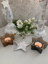 Load image into Gallery viewer, Ridged Star Tea light Candle Holder ... 2 colours