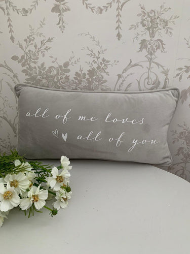 Grey luxury Cushion ... All of Me loves all of you