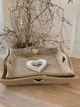 Load image into Gallery viewer, Trays ... Natural square heart handle tray ... 3 sizes