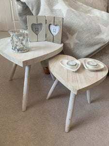 Distressed Wood Heart Table / Stool