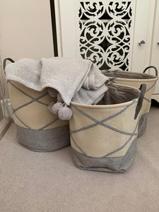 Block Toned Fabric Storage Baskets ... 3 Sizes