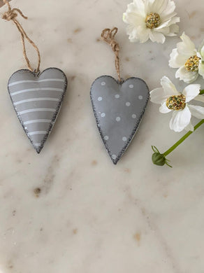 Grey spot & stripe hanging hearts ... set of 2