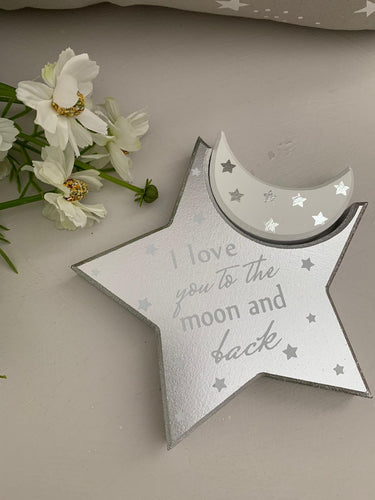 Love you to the moon and back mantel star