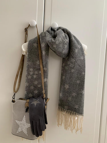 Cosy Cluster Star Scarf with Tassels ... Dark Grey