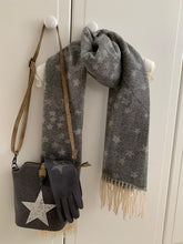 Load image into Gallery viewer, Cosy Cluster Star Scarf with Tassels ... Dark Grey