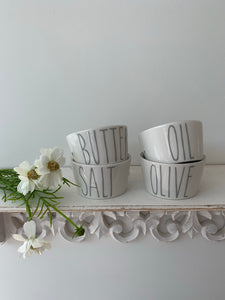 Grey heart Dipping dishes ... set of 4