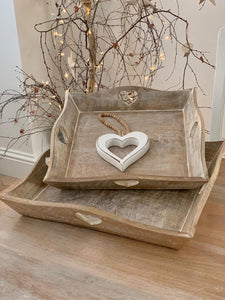 Trays ... Natural square heart handle tray ... 3 sizes