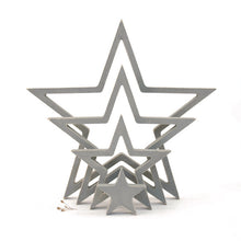 Load image into Gallery viewer, Outline wooden stars GREY ... set of 4
