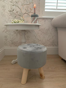 Button Velvet Stool ... Grey
