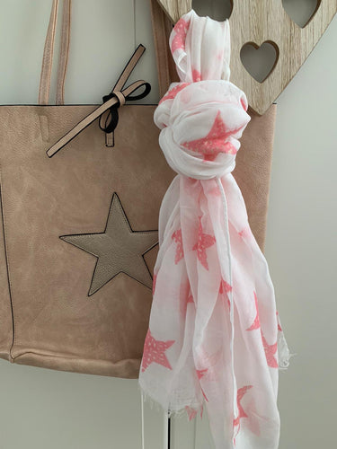 Scarf .... White with Pink Star detail