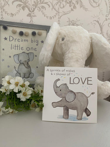 Greetings Card ... Elephant Baby Shower / Love